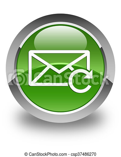 Refresh email icon glossy soft green round button - csp37486270