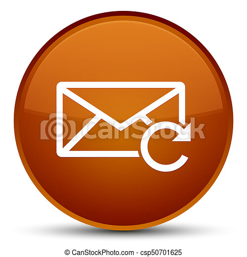 Refresh email icon special brown round button - csp50701625
