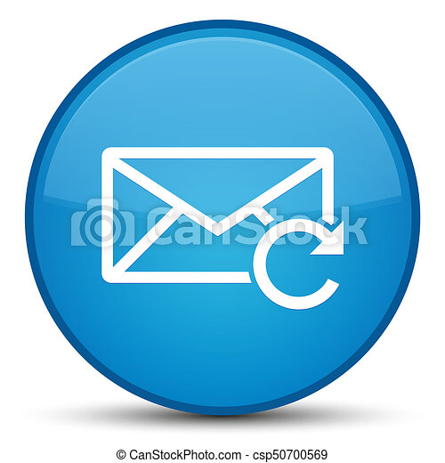Refresh email icon special cyan blue round button - csp50700569