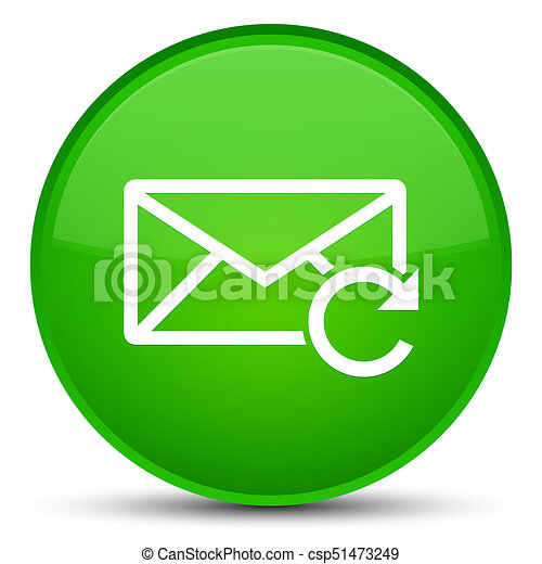 Refresh email icon special green round button - csp51473249