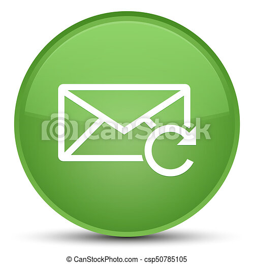 Refresh email icon special soft green round button - csp50785105