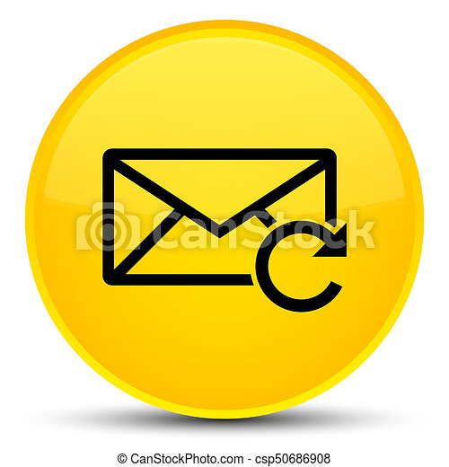Refresh email icon special yellow round button - csp50686908
