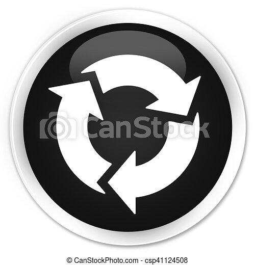 Refresh icon black glossy round button - csp41124508