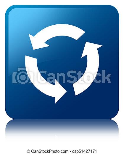 Refresh icon blue square button - csp51427171