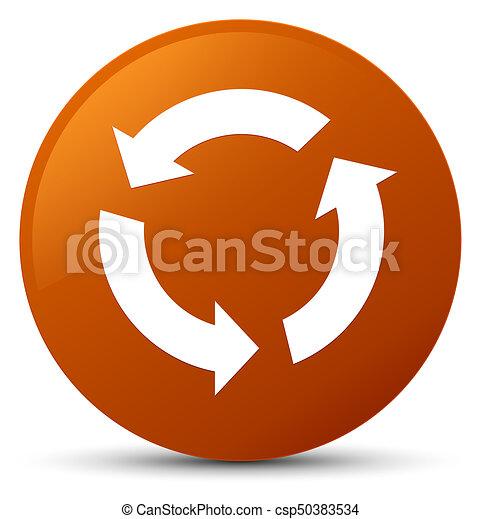Refresh icon brown round button - csp50383534