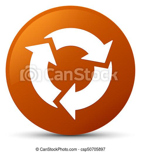 Refresh icon brown round button - csp50705897