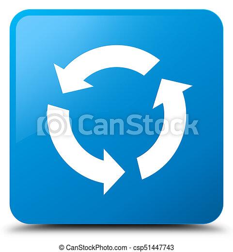 Refresh icon cyan blue square button - csp51447743