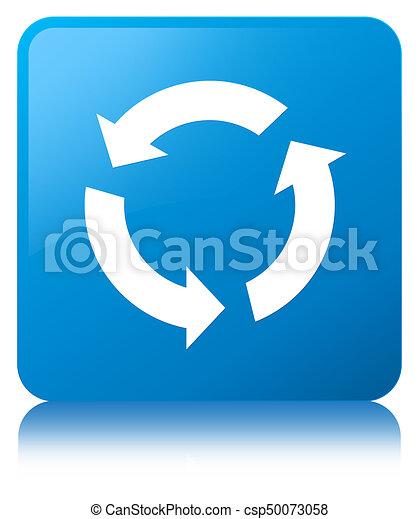 Refresh icon cyan blue square button - csp50073058