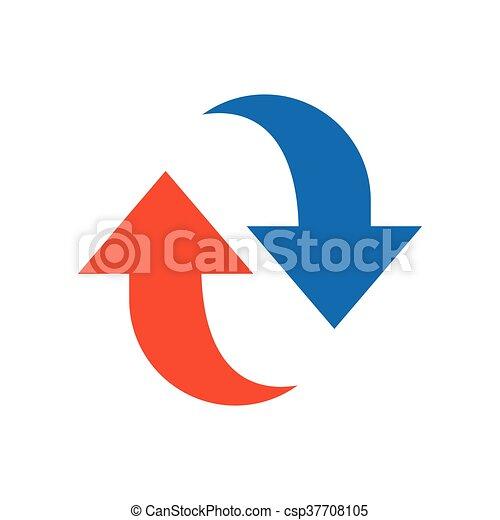 Refresh Icon design blue and orange - csp37708105