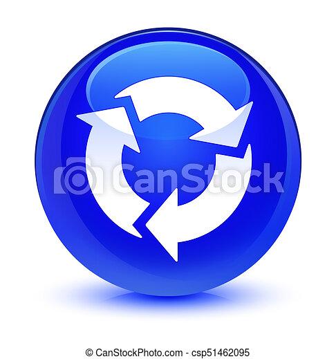 Refresh icon glassy blue round button - csp51462095
