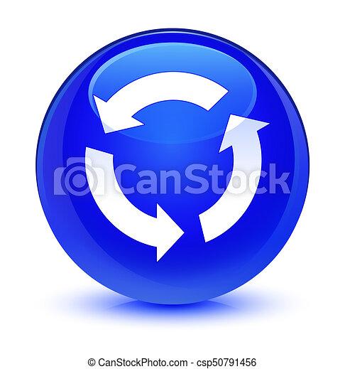 Refresh icon glassy blue round button - csp50791456
