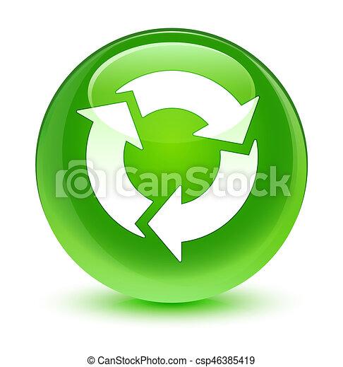 Refresh icon glassy green round button - csp46385419
