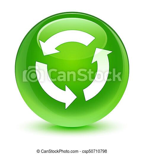 Refresh icon glassy green round button - csp50710798