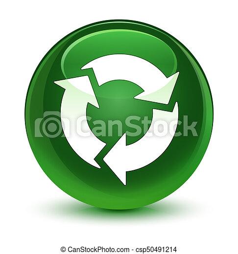 Refresh icon glassy soft green round button - csp50491214