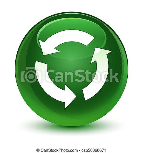 Refresh icon glassy soft green round button - csp50068671