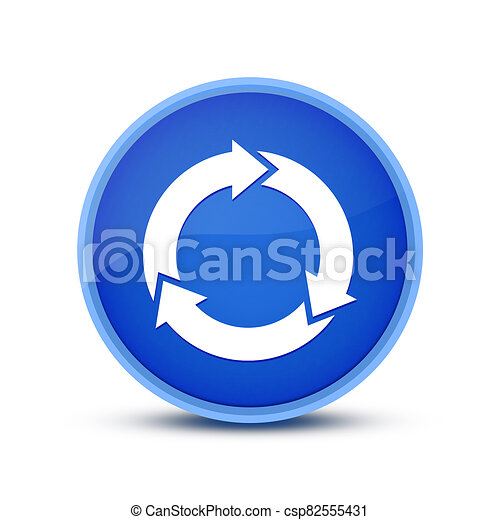 Refresh icon isolated on blue round button abstract button abstract - csp82555431
