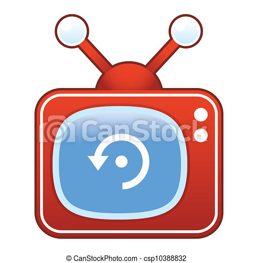 Refresh icon on retro television - csp10388832