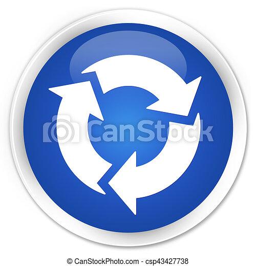 Refresh icon premium blue round button - csp43427738