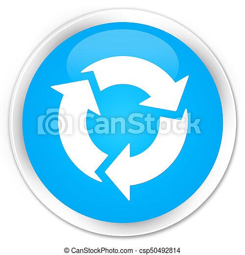 Refresh icon premium cyan blue round button - csp50492814