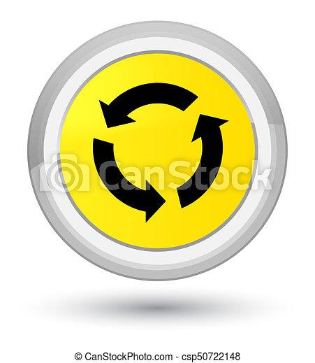 Refresh icon prime yellow round button - csp50722148