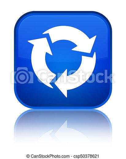Refresh icon special blue square button - csp50378621