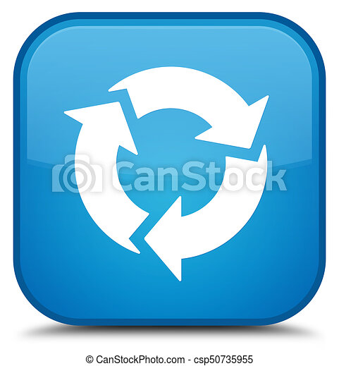 Refresh icon special cyan blue square button - csp50735955