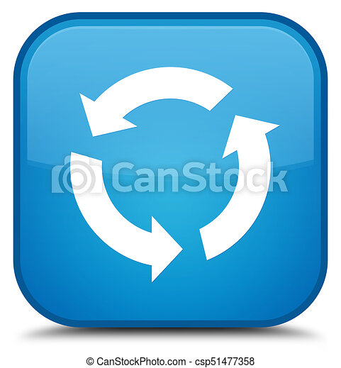 Refresh icon special cyan blue square button - csp51477358