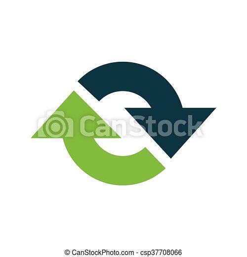 Refresh Icon vector green - csp37708066