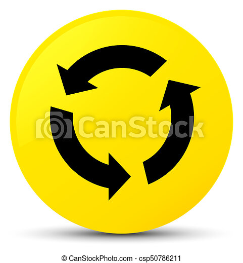 Refresh icon yellow round button - csp50786211