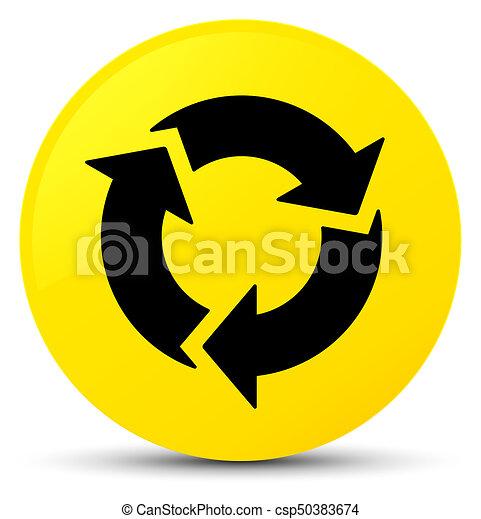 Refresh icon yellow round button - csp50383674