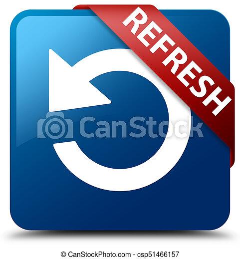 Refresh (rotate arrow icon) blue square button red ribbon in corner - csp51466157