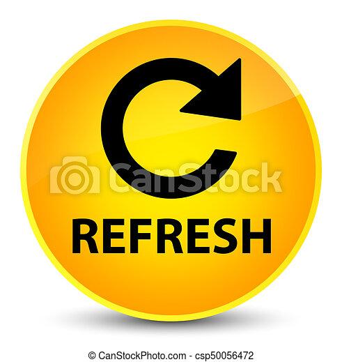 Refresh (rotate arrow icon) elegant yellow round button - csp50056472