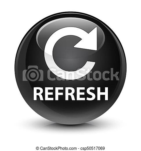Refresh (rotate arrow icon) glassy black round button - csp50517069