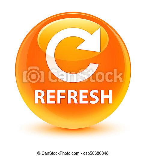 Refresh (rotate arrow icon) glassy orange round button - csp50680848