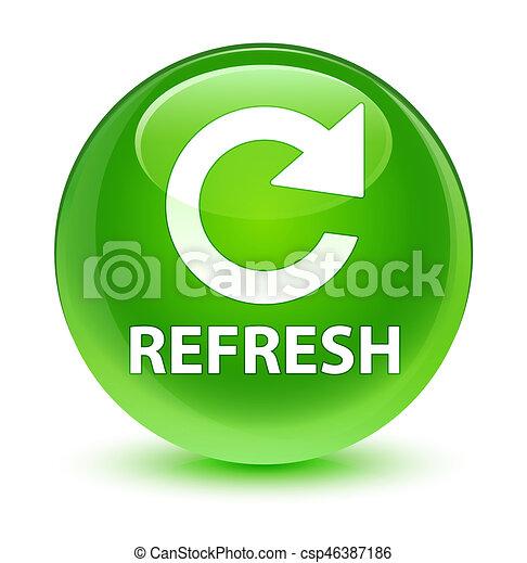 Refresh (rotate arrow icon) glassy green round button - csp46387186