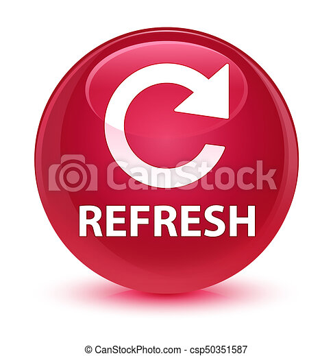 Refresh (rotate arrow icon) glassy pink round button - csp50351587