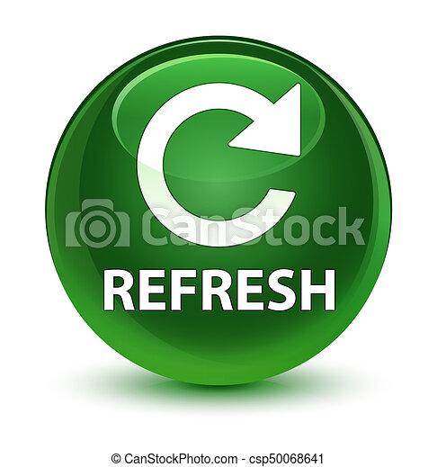 Refresh (rotate arrow icon) glassy soft green round button - csp50068641