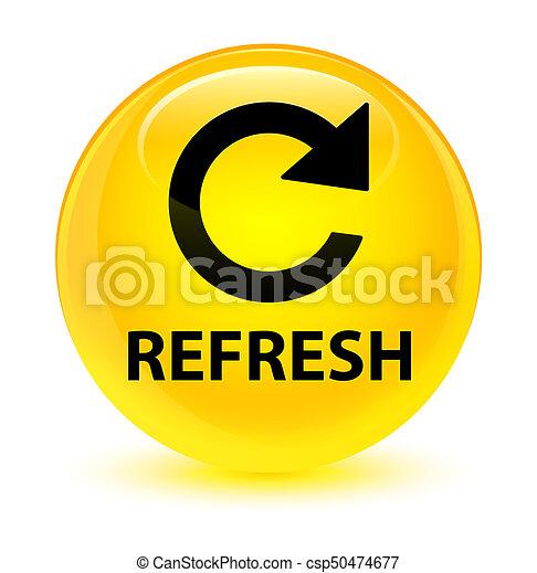 Refresh (rotate arrow icon) glassy yellow round button - csp50474677