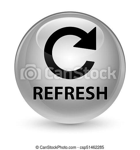 Refresh (rotate arrow icon) glassy white round button - csp51462285