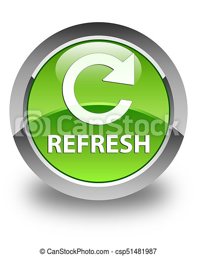 Refresh (rotate arrow icon) glossy green round button - csp51481987