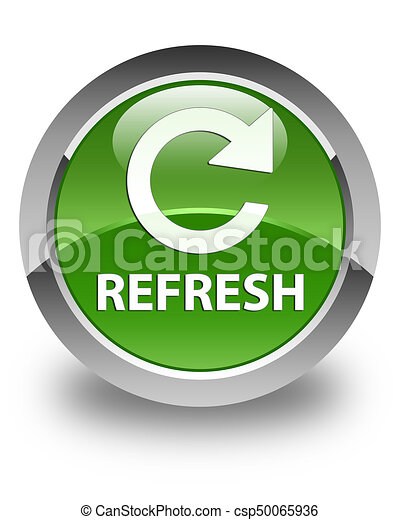 Refresh (rotate arrow icon) glossy soft green round button - csp50065936