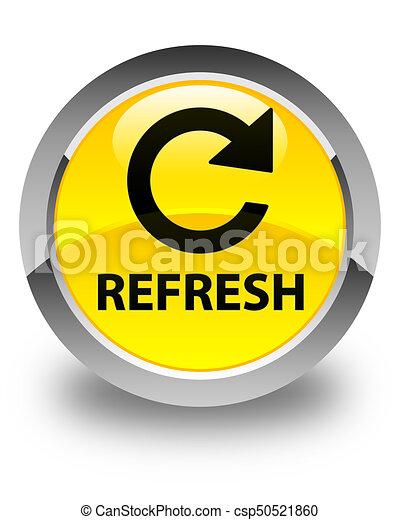 Refresh (rotate arrow icon) glossy yellow round button - csp50521860