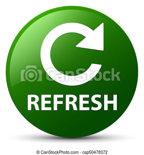 Refresh (rotate arrow icon) green round button - csp50478372