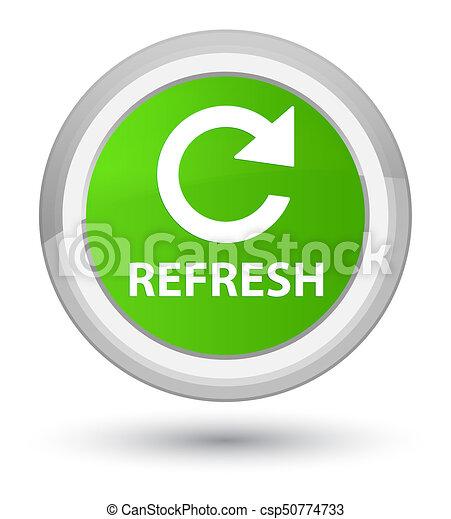 Refresh (rotate arrow icon) prime soft green round button - csp50774733