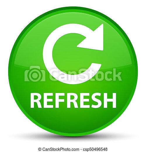 Refresh (rotate arrow icon) special green round button - csp50496548