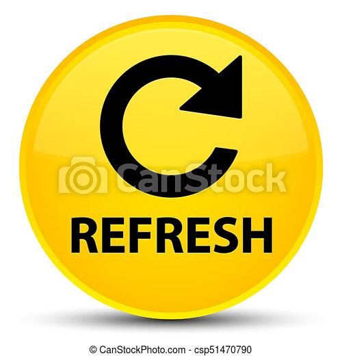 Refresh (rotate arrow icon) special yellow round button - csp51470790