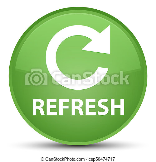 Refresh (rotate arrow icon) special soft green round button - csp50474717