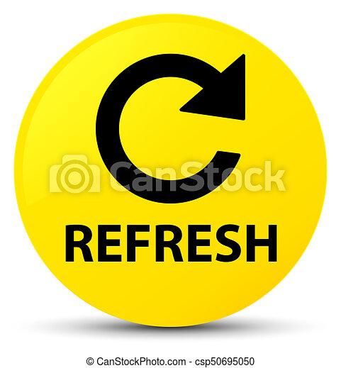 Refresh (rotate arrow icon) yellow round button - csp50695050