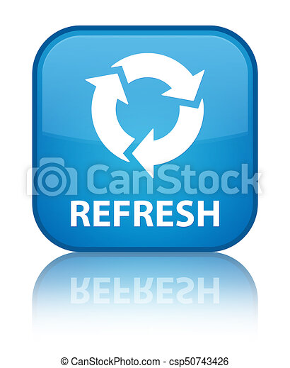Refresh special cyan blue square button - csp50743426