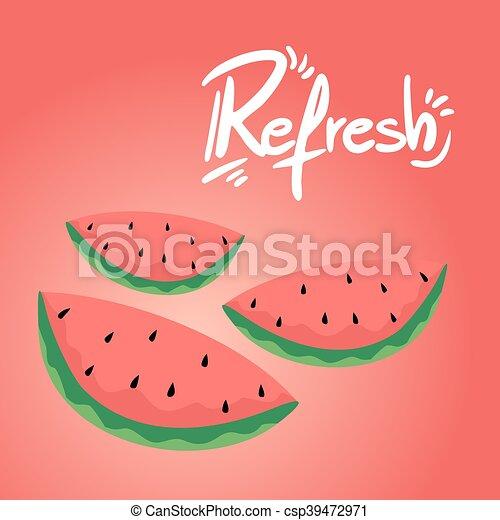 refresh watermelon illustration - csp39472971